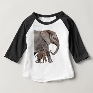 Elephant with Baby Elephant Baby T-Shirt