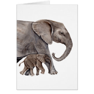 Elephant with Baby Elephant Card