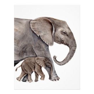 Elephant with Baby Elephant Customized Letterhead
