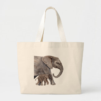 Elephant with Baby Elephant Large Tote Bag