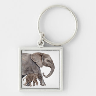 Elephant with Baby Elephant Silver-Colored Square Keychain