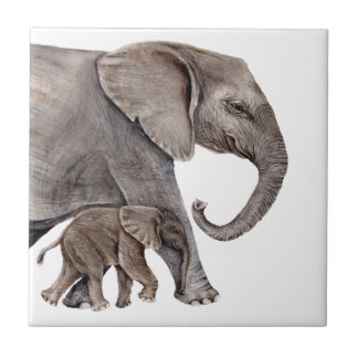 Elephant with Baby Elephant Tile
