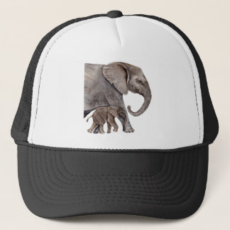 Elephant with Baby Elephant Trucker Hat