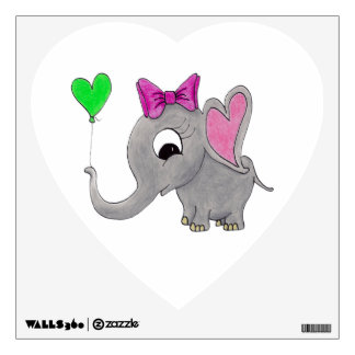 Elephant with balloon wall decal