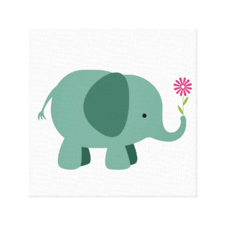Elephant with Flower - Nursery Wall Art