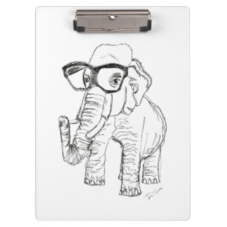 Elephant with Glasses Clipboard