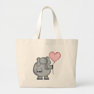 Elephant with Heart Balloon Large Tote Bag