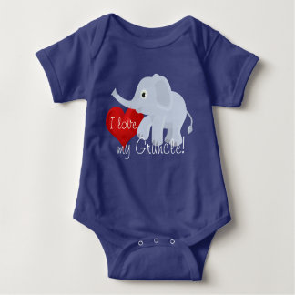 "Elephant with heart declares, ""I love my Gruncle"" Baby Bodysuit"