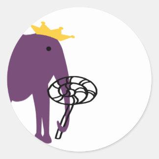 Elephant With Lollipop Classic Round Sticker