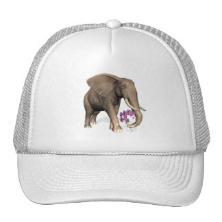 Elephant With Pink Orchid Trucker Hat