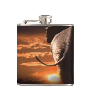 Elephant with Sunset Hip Flask