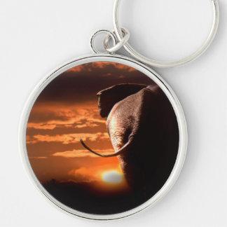 Elephant with Sunset Keychain