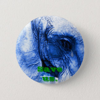 Elephant with tear 2 inch round button