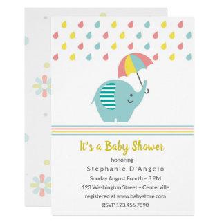 Elephant with Umbrella Baby Shower Invitation