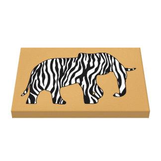 Elephant with Zebra Stripes + your ideas Canvas Print