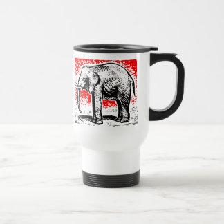 Elephant Woodcut 15 Oz Stainless Steel Travel Mug