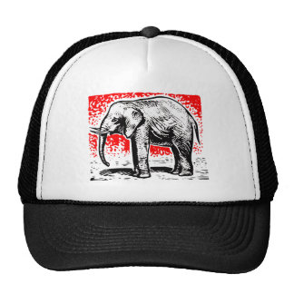 Elephant Woodcut Trucker Hat
