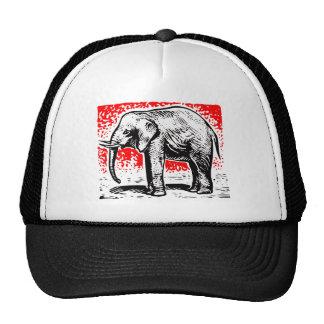 Elephant Woodcut Trucker Hat