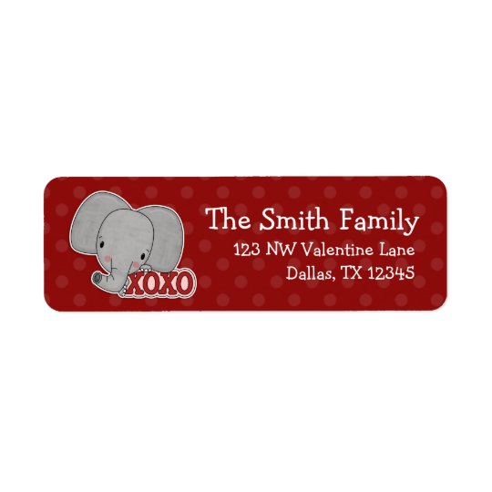 Elephant XOXO Polka Dot Valentine Return Address