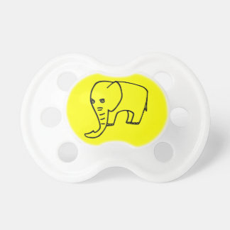 Elephant yellow baby pacifiers