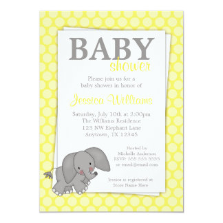 Elephant Yellow Dots Gender Neutral Baby Shower Card