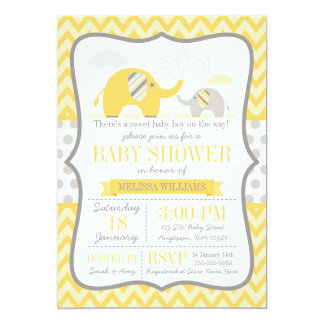 Elephant Yellow Gray Baby Shower Card