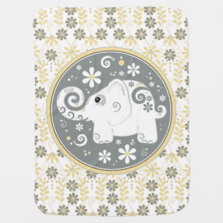 Elephant Yellow Grey White Daisy Floral Baby Blanket