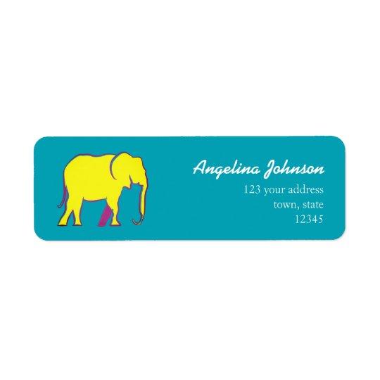 Elephant Yellow Neon Vibrant Silhouette Turquoise