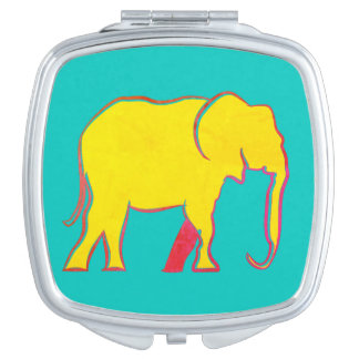 Elephant Yellow Neon Vibrant Silhouette Turquoise Mirror For Makeup