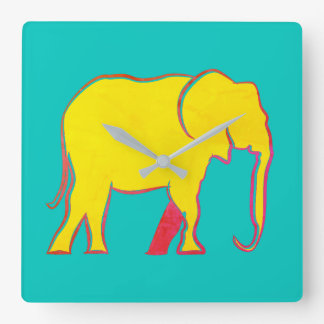 Elephant Yellow Neon Vibrant Silhouette Turquoise Square Wall Clock