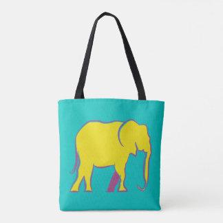 Elephant Yellow Neon Vibrant Silhouette Turquoise Tote Bag