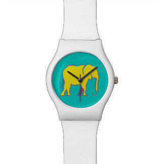 Elephant Yellow Neon Vibrant Silhouette Turquoise Watch