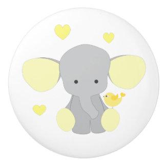 Elephant Yellow Safari Animal Baby Neutral Nursery Ceramic Knob