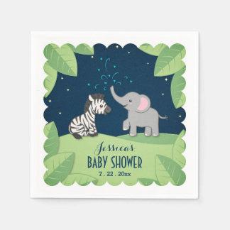 Elephant & Zebra Safari Baby Shower Napkins