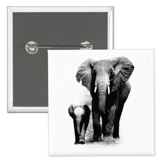 Elephants 2 Inch Square Button