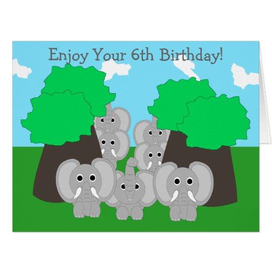 Elephants 6th Birthday Card