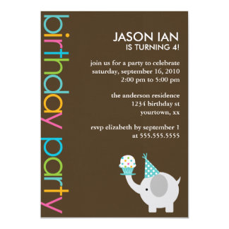 Elephants and Cupcakes Birthday Party Invitations