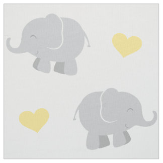 Elephants and Hearts Pattern | Yellow and Gray Fabric