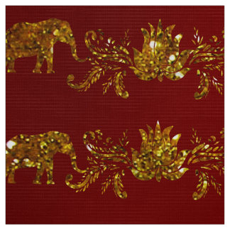 Elephants and Lotus Fabric