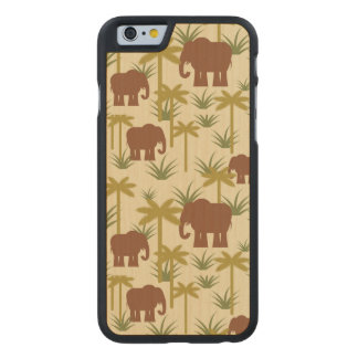 Elephants And Palms In Camouflage Carved® Maple iPhone 6 Slim Case