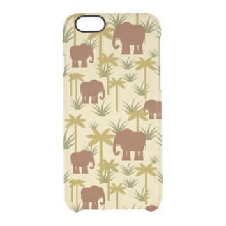 Elephants And Palms In Camouflage Clear iPhone 6/6S Case