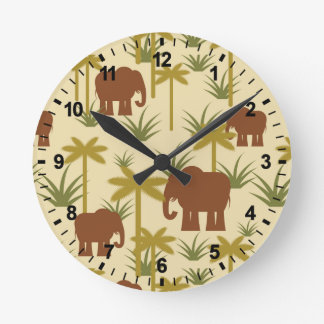 Elephants And Palms In Camouflage Clocks