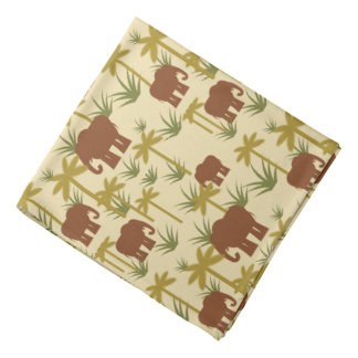 Elephants And Palms In Camouflage Kerchiefs