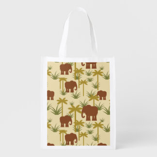 Elephants And Palms In Camouflage Market Totes