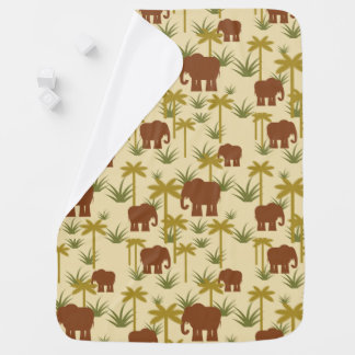 Elephants And Palms In Camouflage Receiving Blanket