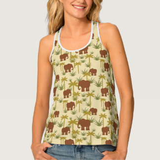 Elephants And Palms In Camouflage Tank Top