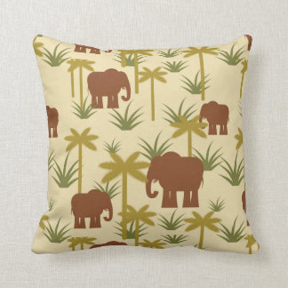 Elephants And Palms In Camouflage Throw Pillow