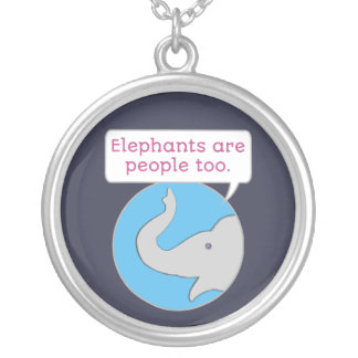 Elephants are People Too Silver Plated Necklace