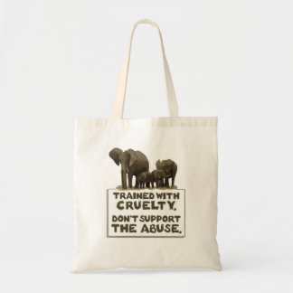 Elephants are Trained With Cruelty tote bag