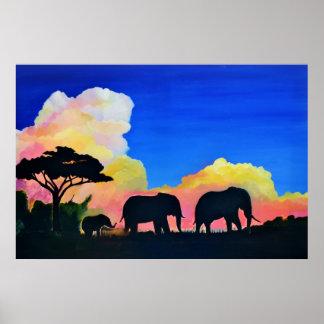 Elephants At Dusk Poster